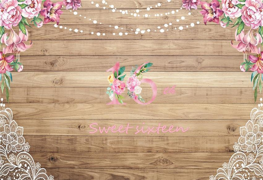 Sweet 16 Pink Flowers Wooden Wall Backdrop for Princess