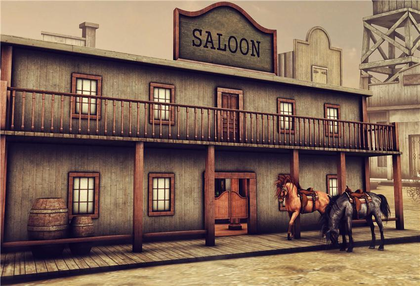 West Saloon Wooden House Retro Photography Backdrops