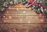 Brown Wood Wall Shiny Christmas Backdrops