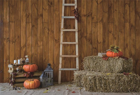 Wooden Thanksgiving Straw Pumpkin Autumn Backdrops