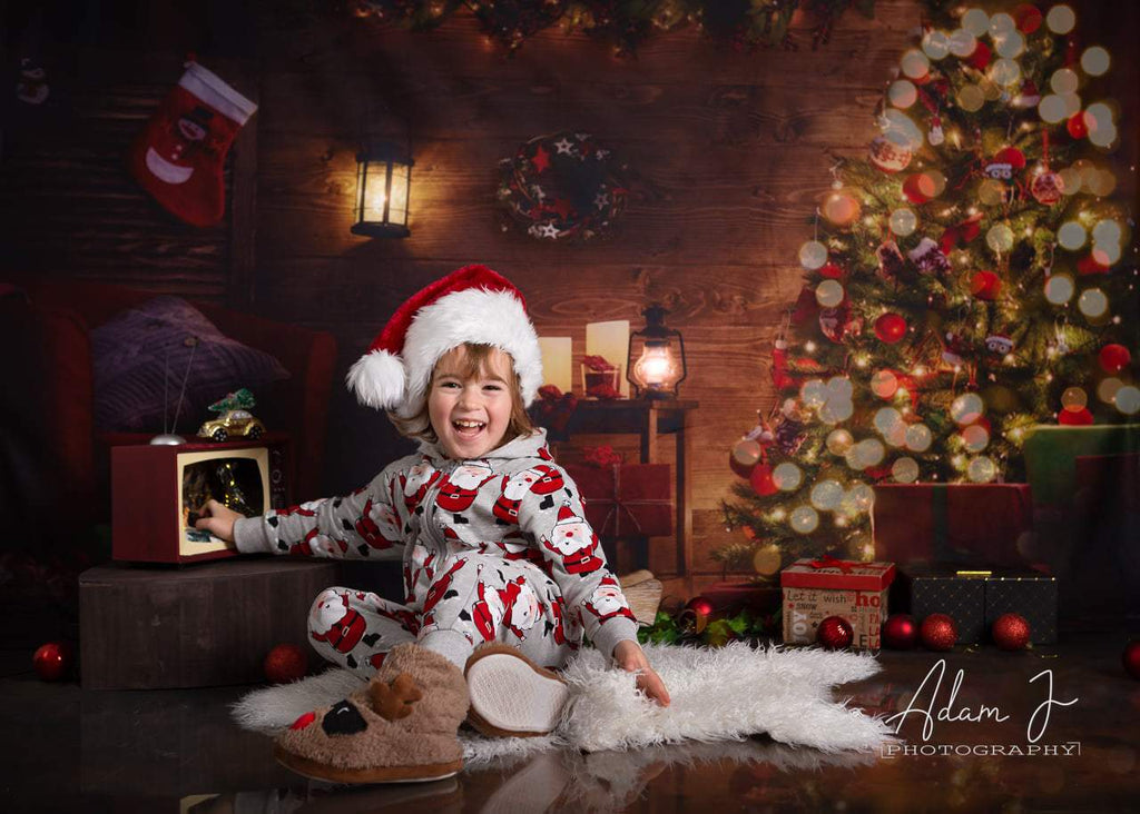 Bright Christmas Tree Wooden Backdrop