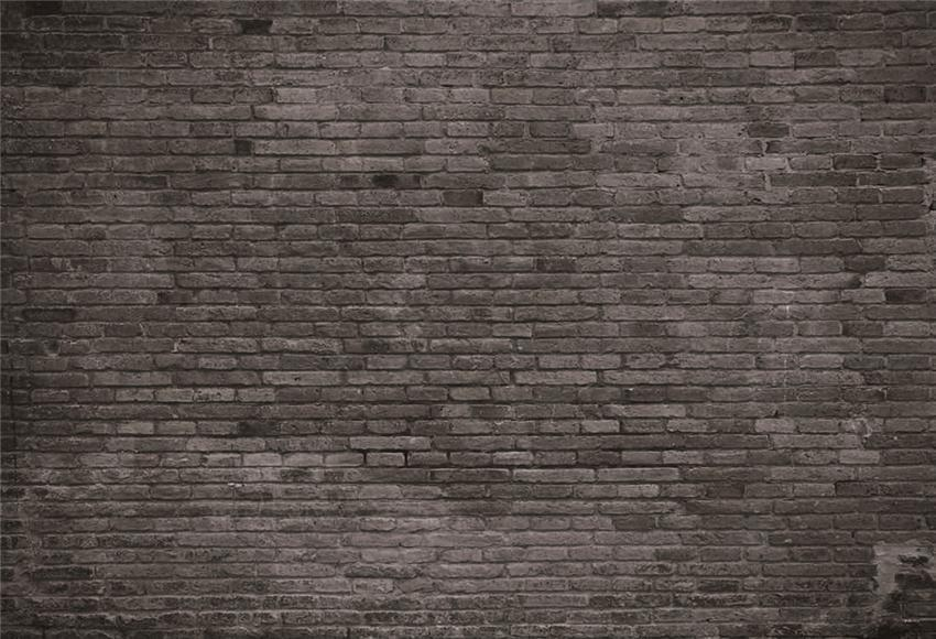 Black Brick Wall Fabric Photography Backdrop for Studio