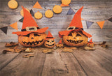 Wooden Halloween Pumpkin Flags Photo Backdrops