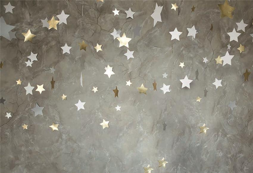 Grey Abstract Baby Birthday Portrait Stars Backdrops