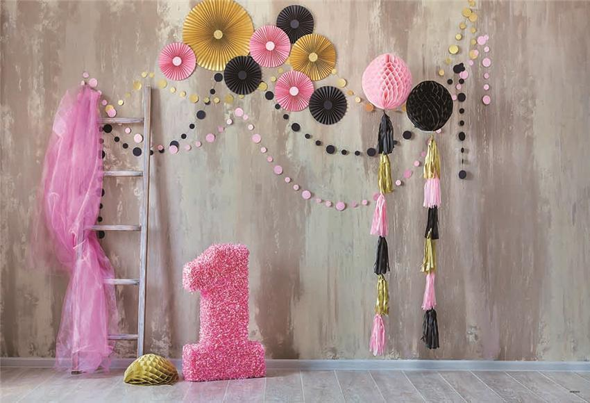 Pink Theme 1st Birthday Photography Prop Backdrops