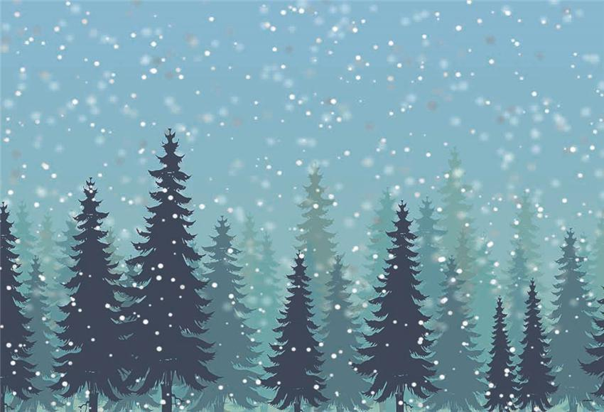 Snowflake Pine Forest Christmas Photography Backdrop