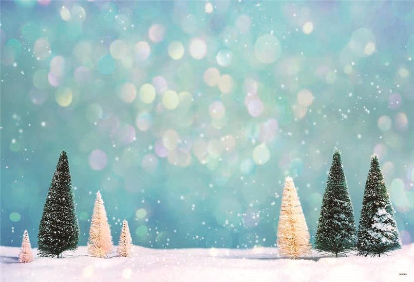 Blue Glitter Pine Snow Winter Backdrop for Christmas