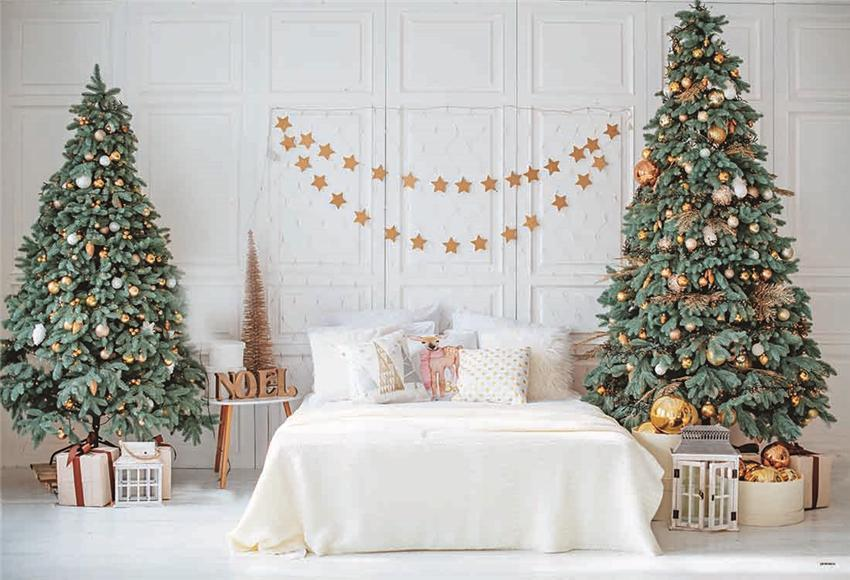 Bed Room Christmas Tree Gold Star Photo Backdrop for Studio