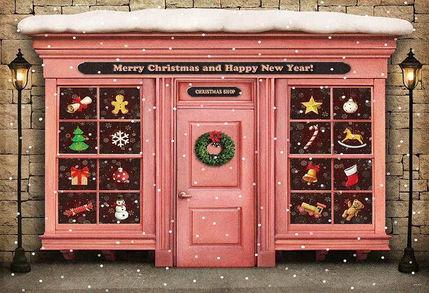 Merry Christmas Backdrop Pink House Happy New Year Background