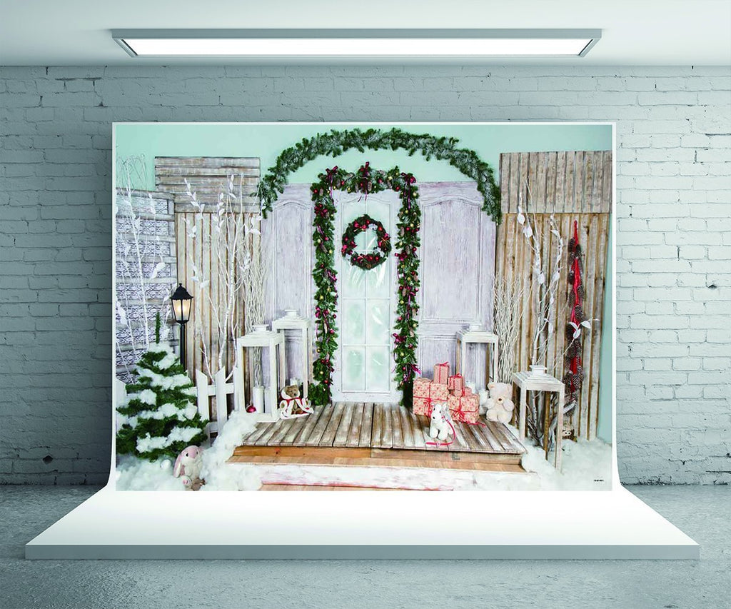 Wooden Christmas Backdrop for Photography Prop