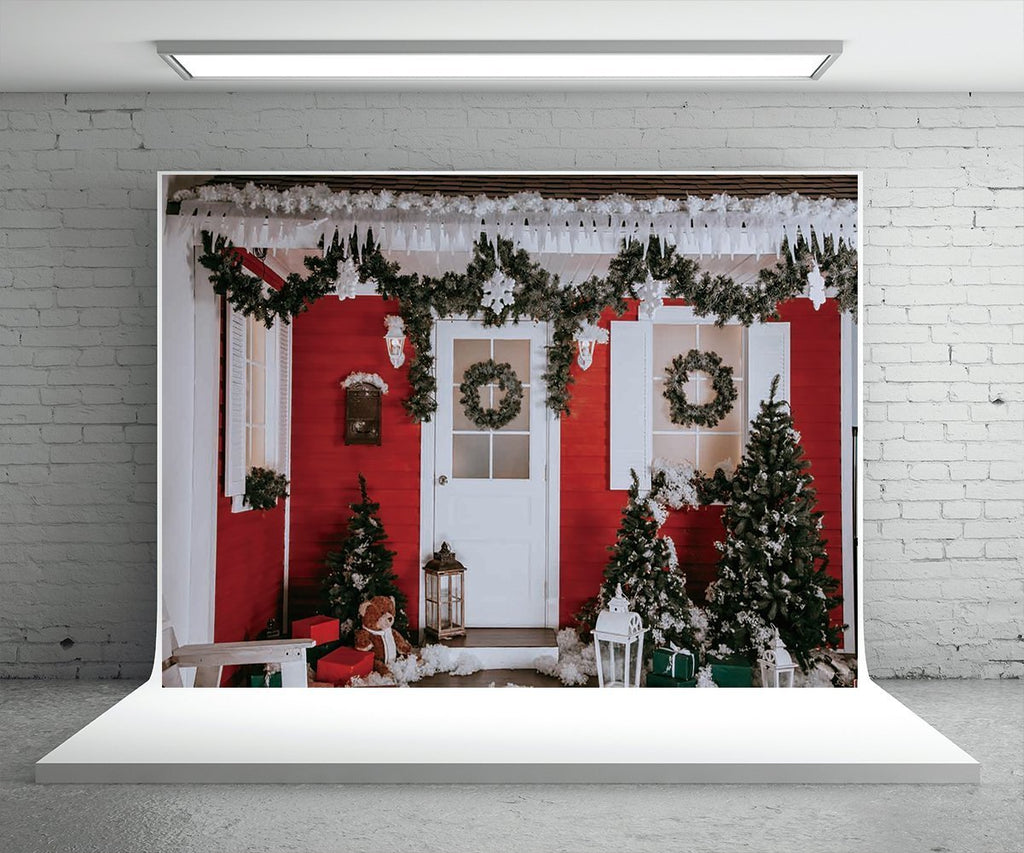 Red Wooden House Christmas Photography Prop Backdrops