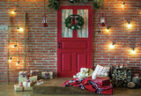 Red Brick Christmas Red Door Backdrop for Photography