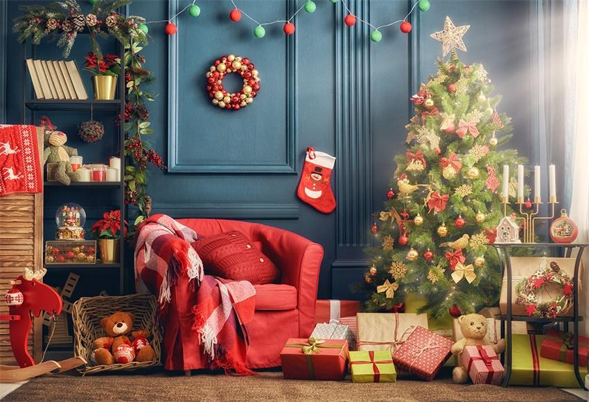 Christmas Tree Blue Red Sofa Photography Backdrops