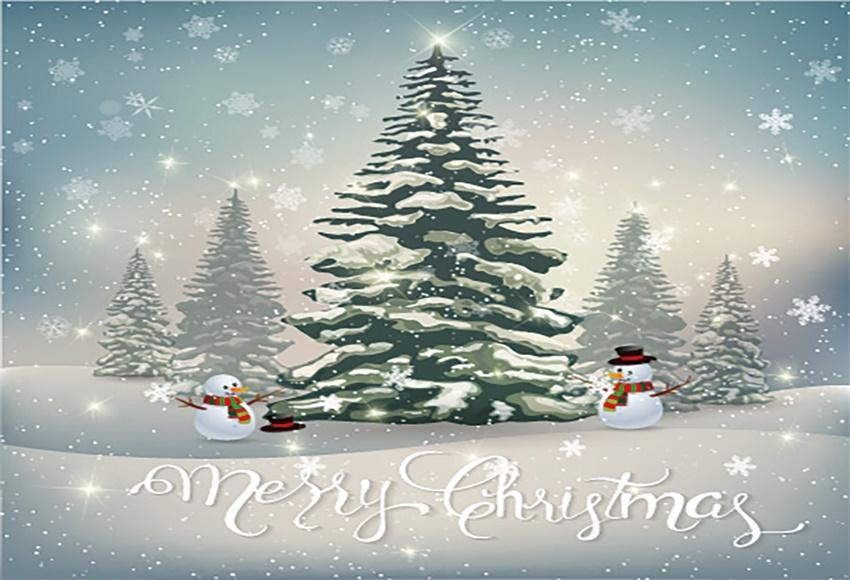 Merry Christmas Cartoon Snowman Backdrops