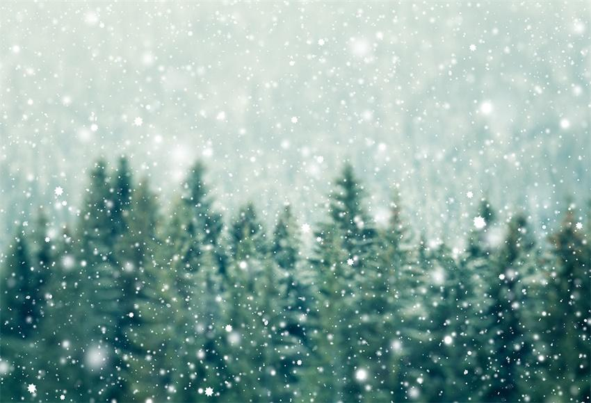 Snowflake Pine Green Winter Backdrop for Christmas