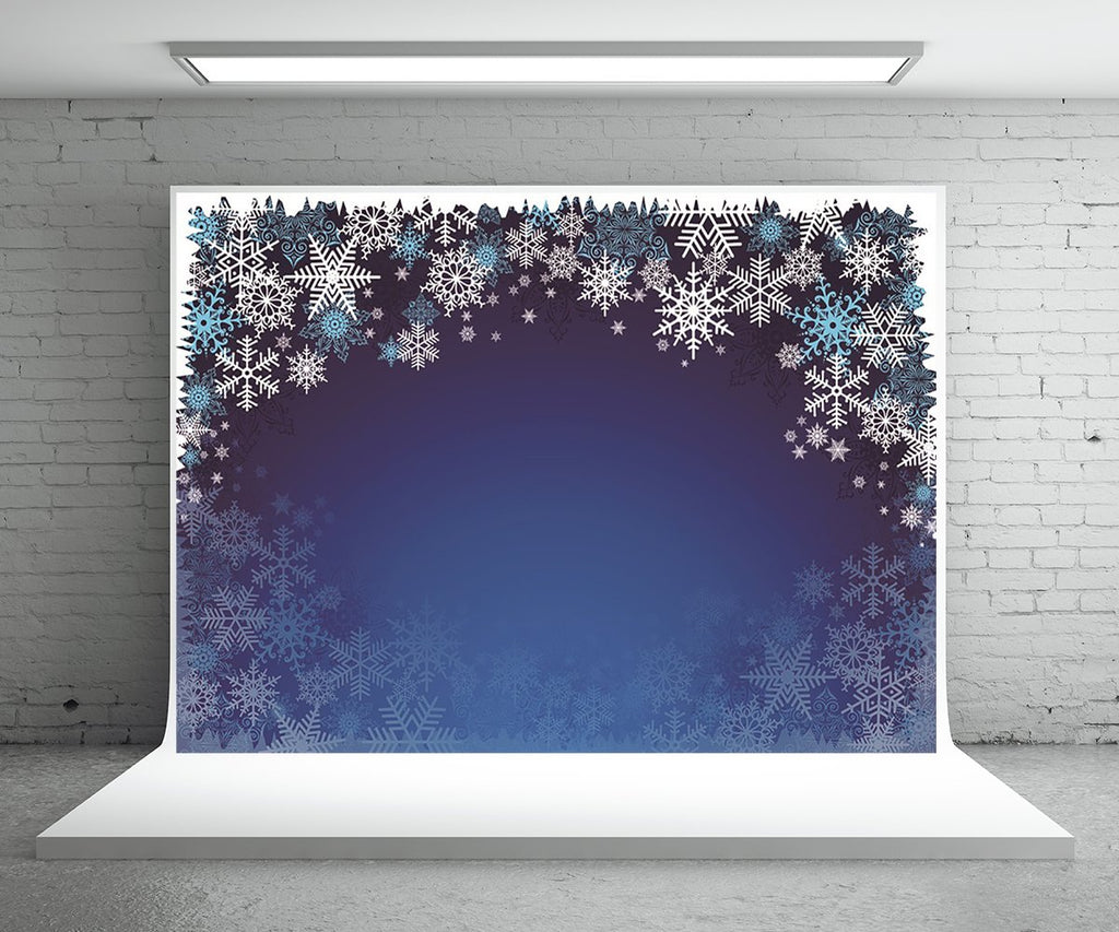 Snowflake Blue Christmas Photography Backdrops for Picture