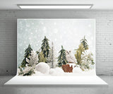 Snowflake Pine Christmas Winter Photography Backdrop Prop