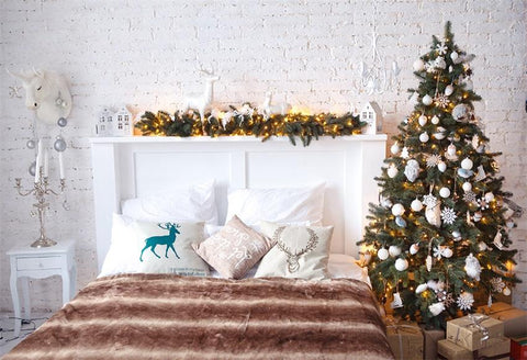 White Bed Headboard Christmas Backdrops for Picture