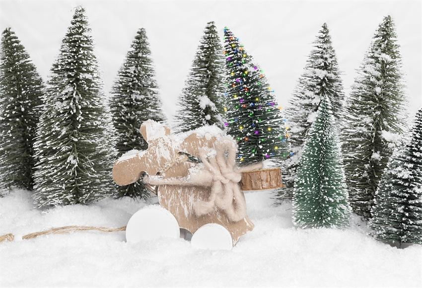 Winter Snow Pine Photography Backdrops for Christmas