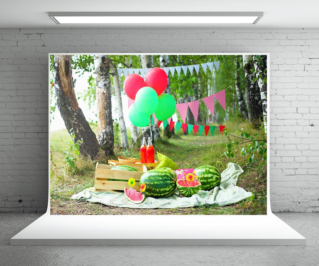 Watermelon Flag Garden Spring Backdrop for Photo Prop