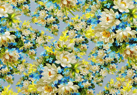 White Flowers Blue Floral Photo Backdrop for Studio