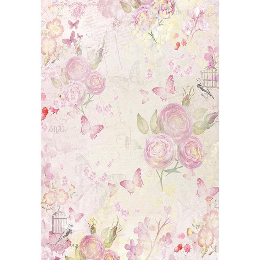 Printed Pink Flowers Background  Butterflies Photography Backdrop