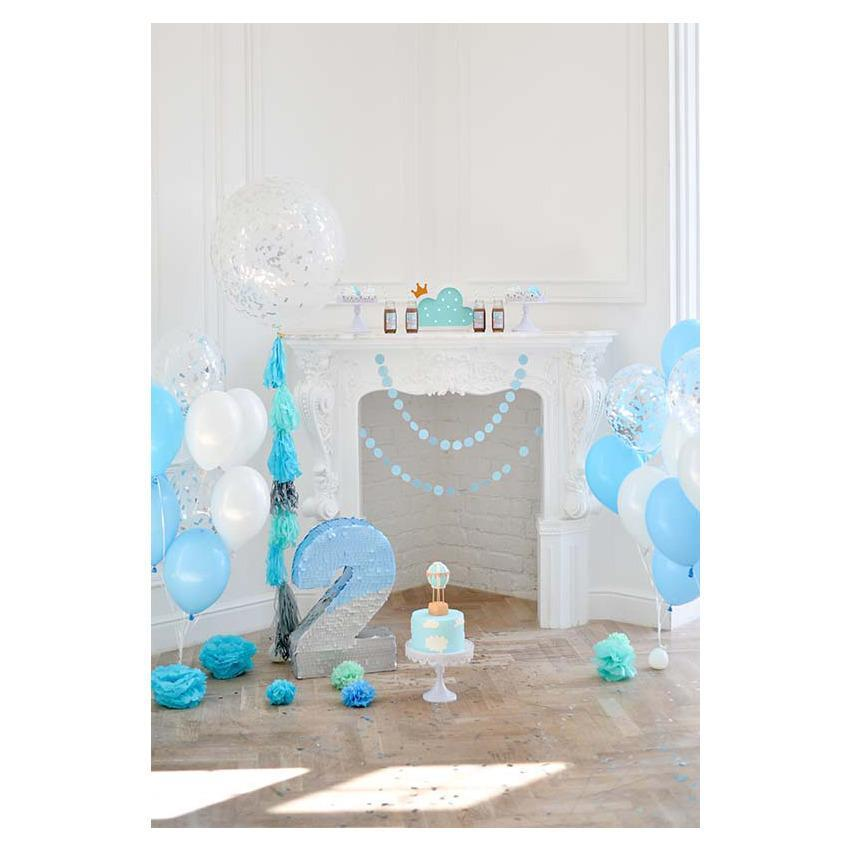 Blue Balloons White Wall Backdrop For Custom 2st Photography Backdrop