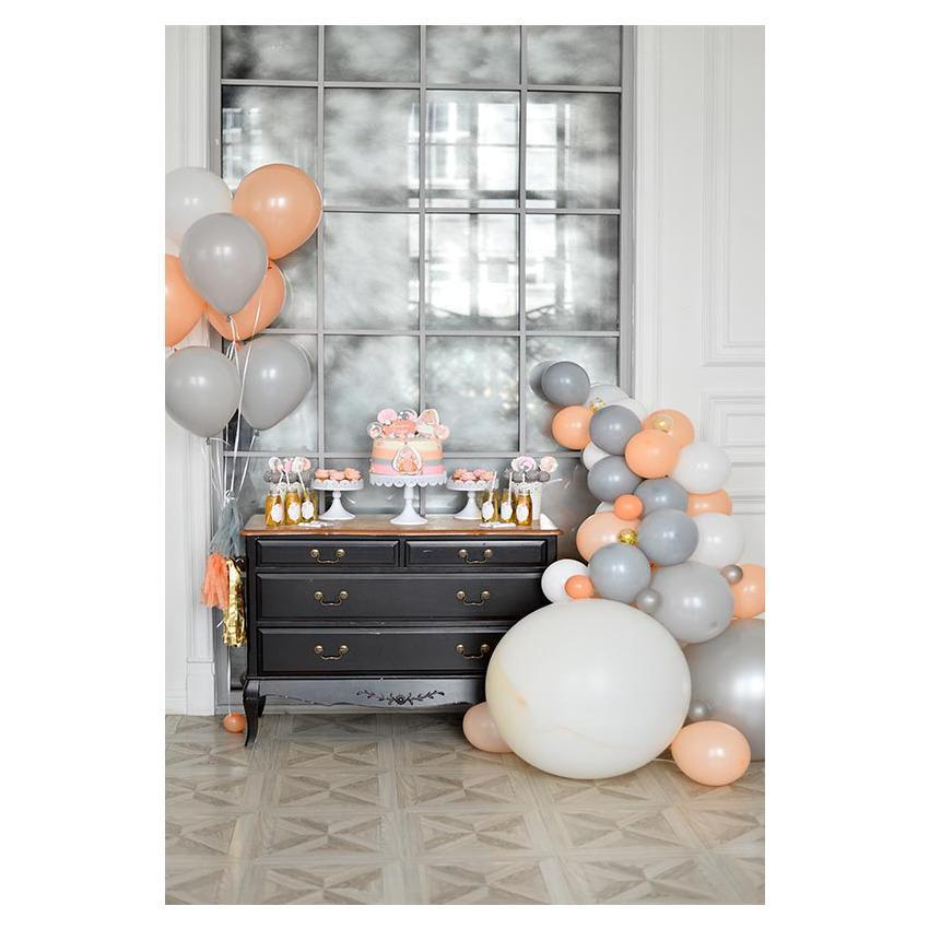 Yellow And Grey Balloons Sliver Window for 1st Cake Smash Backdrop