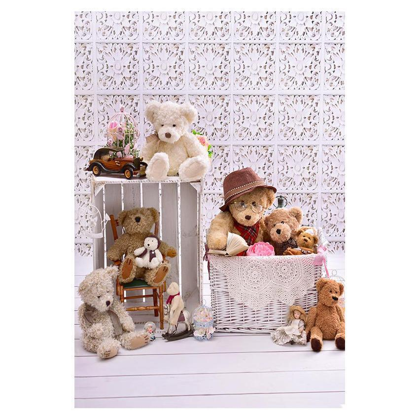 Big Bear And Little Bear Before Flower Pattern Wall Backdrop for Photography
