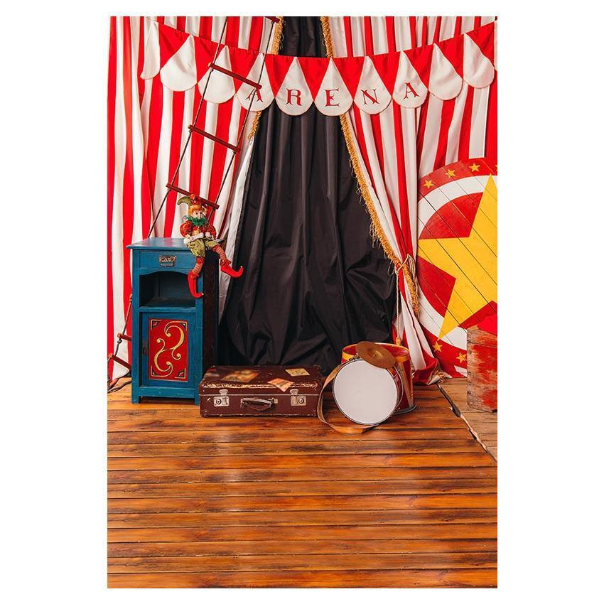 Red And White Strips Arena Wood Floor Photography Backdrop
