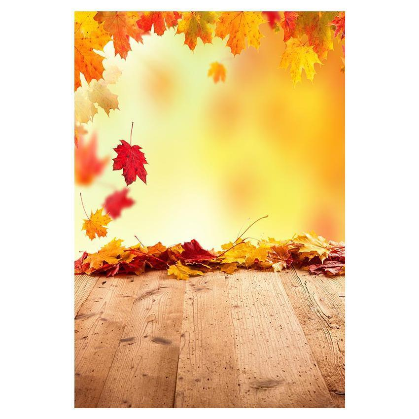 Printed Red And Yellow Maple Leaves Backdrop Wood Floor Background  for Photography