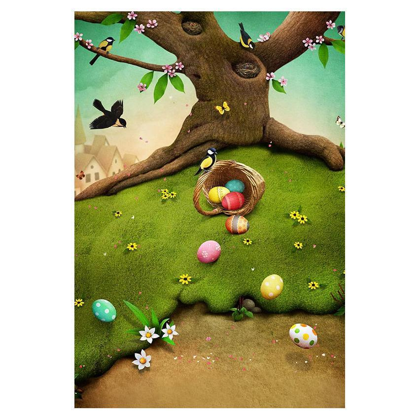 Easter Eggs On Green Grass With Tree Background For Holiday Backdrop