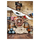 Corsair With Banners Background l Wood Floor Backdrop For Photography