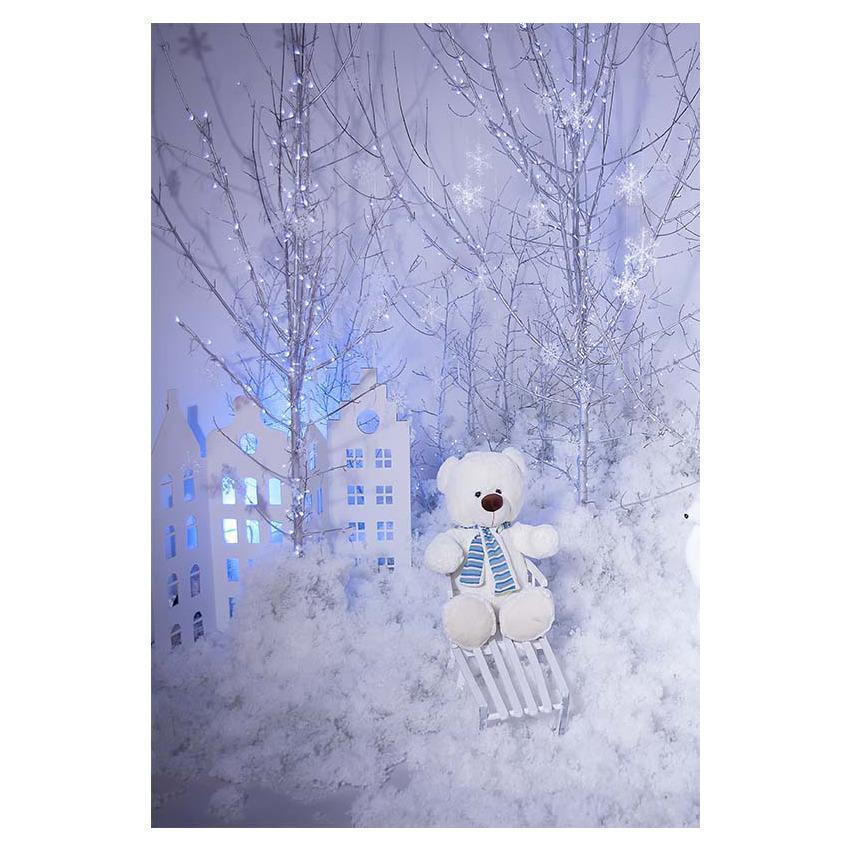 Skiing Bear Background for Winter Snow Scenery Photography Backdrop