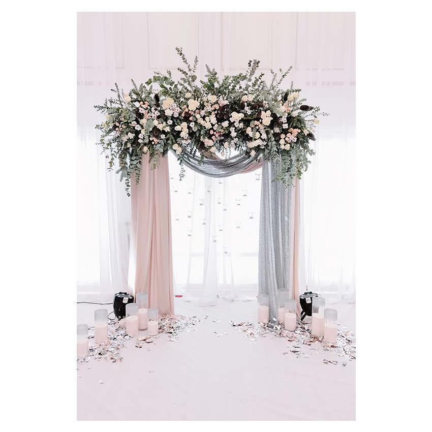 Romantic Flower Curtain Door Background for Weeding Photography Backdrop