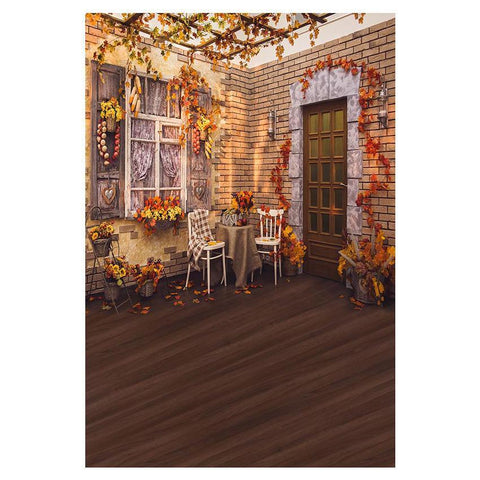Wood door With Golden Yellow Plants Background Autumn Yard Photography Backdrops