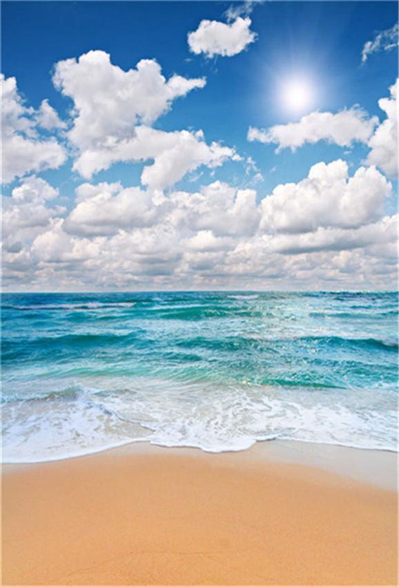 Beach Summer Sky Sandy Tropical Holiday Backdrop