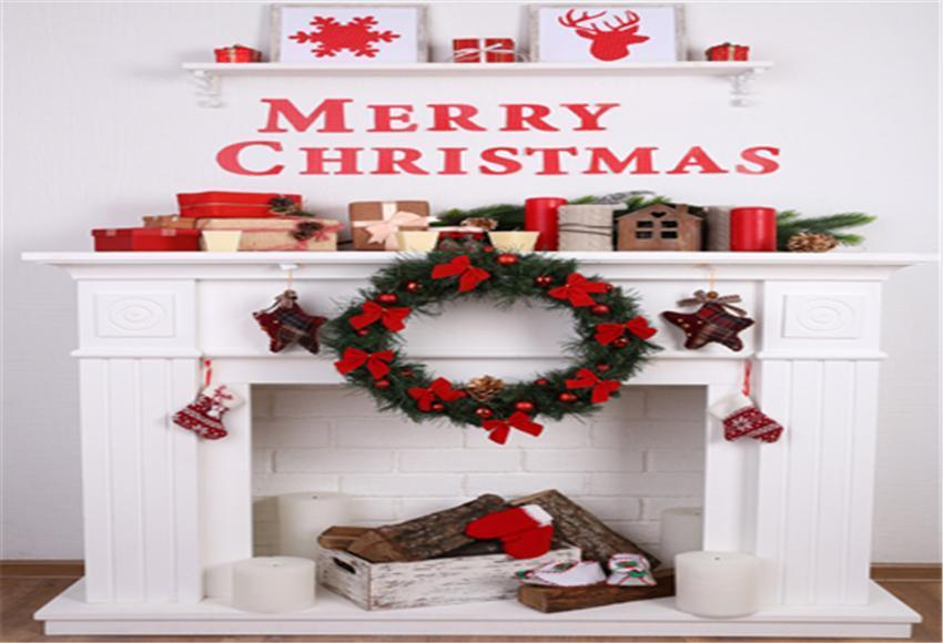 Merry Christmas White Fireplace Backdrop