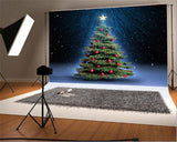 Blue Sky Night of Christmas Photography Backdrops