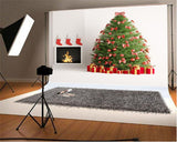 White Christmas Fireplace Photography Backdrops for Picture