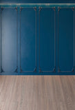 Royal Blue Wall Wood Floor Photo Backdrops for Wedding Prop