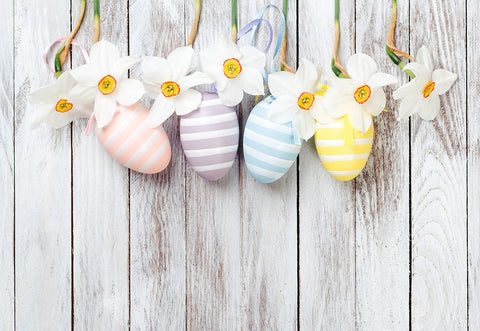 White Wood Eggs Flowers Easter Photo Backdrop for Studio