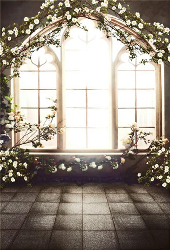 Windows Flowers Stone Floor Wedding Backdrops