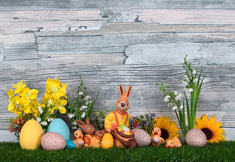 Spring Happy Easter Green Grass Wood Wall Backdrops for Picture