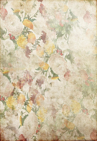 Yellow Red White Flowers Vintage Floral Backdrop for Studio