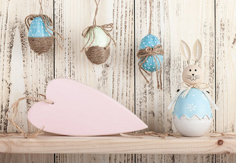 Easter White Wood Wall Rabbit Backdrops for Photo Studio