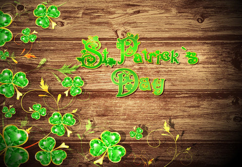 St. Patrick's Day Brown Wood Green Leaves Backdrops