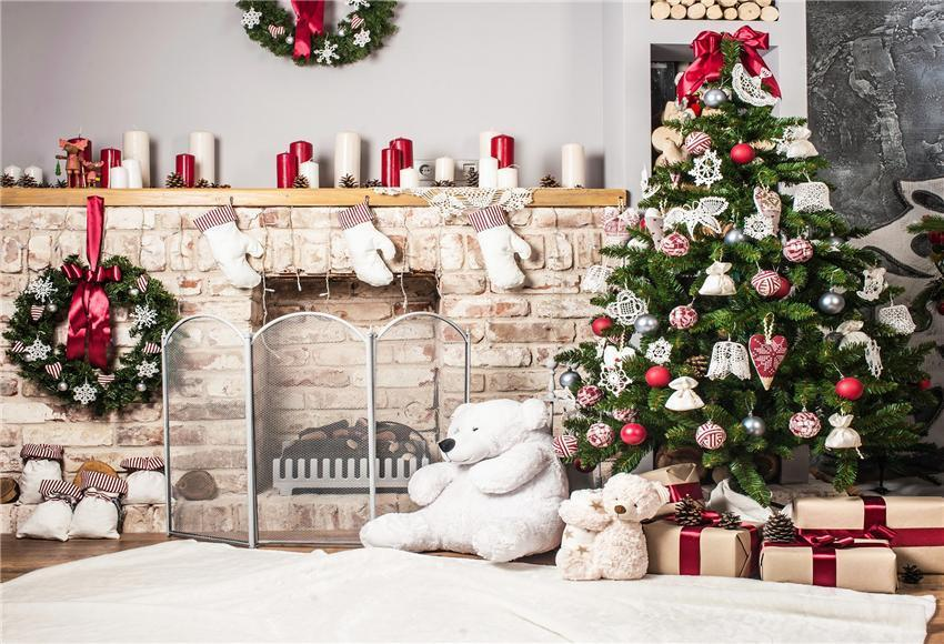 Brick Fireplace Bear Christmas Backdrops