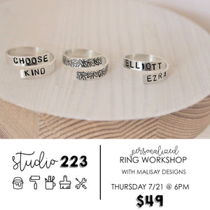 January 28 at 6pm | Personalized Ring Workshop