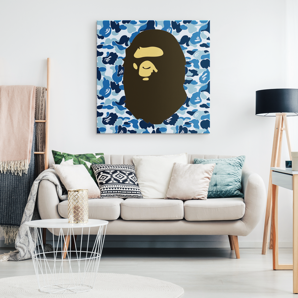 Blue Bape Head Canvas Print